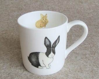 Rabbit Mug - Rabbits Leave Paw Prints on Your Heart