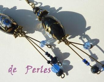 """Greek bronze earrings """"blue tassel"""""""