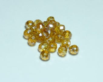 Amber 25 beads 4mm Crystal ab iridescent