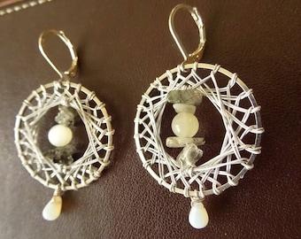 Bohemian earrings, Moonstone