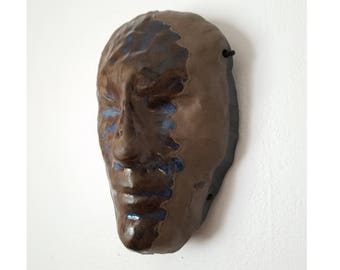 Face Topography Ceramic Wall Mask