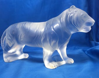 "Lalique Bengal Tiger 10"" Art Glass Nice!"