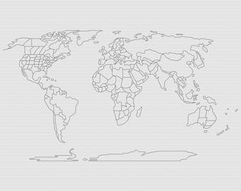 World Map Cross Stitch World Map Xstitch Modern Cross Stitch Pattern Easy Cross Stitch Pattern Beginner Pattern Modern Xstitchline
