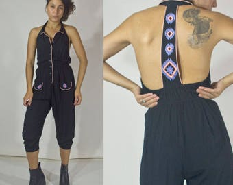 Boho Embroidered detail jumpsuit. Mid-length. Small.
