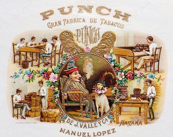 Antique Mr. Punch Cuban Cigar Box Label lithograph illustration digital download. punch and judy, toby the dog, puppet show, 1910s, havana