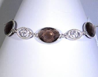 Smokey Quartz Bezel Set Bracelet