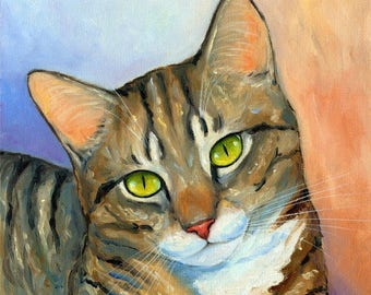 Brown Tabby Cat Original Oil Painting