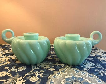Vintage hand blown green milk glass candle holders