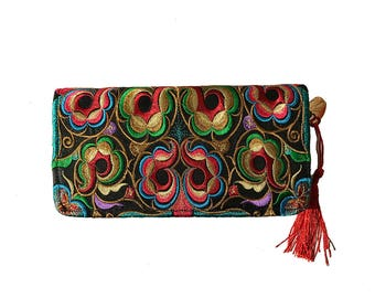 Embroidered Floral themed wallet/Clutch Wallet