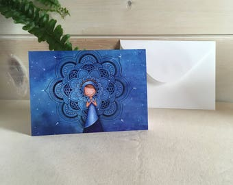 Card with envelope - postcard - Blue Mandala
