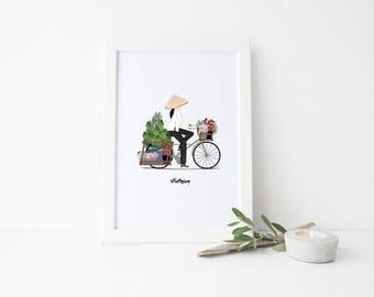 Vietnam Travel Art Print - Loaded Bicycle