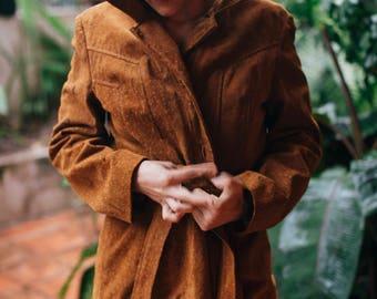 Vintage Spanish Leather Coat with Belt