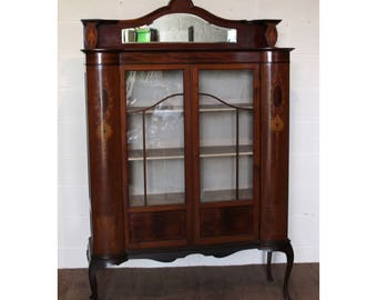 A Quality Victorian Inlaid Mahogany Bow Fronted China Cabinet Cabriole Supports