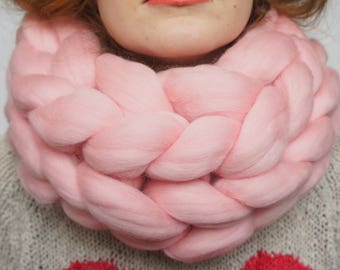 Clothing gift Merino Wool Scarf - Knit Wool Scarf - Super Chunky Scarf - Winter Scarf - Hand Knit Scarf - Womens Winter Scarf