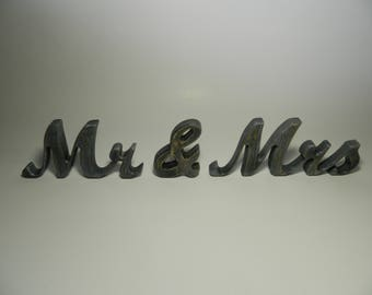Mr & Mrs - Rustic Wooden Letters