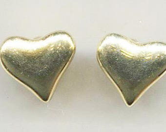 Gold Tone Metal Heart Clip-On Earrings, 1/2 in. Dia.