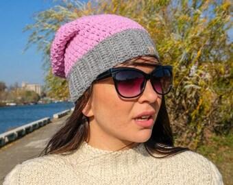 READY TO SHIP Pink and grey crochet beanie. Women hat. Hipster hat. Slouchy women beanie. Winter woman beanie. Girls beanie