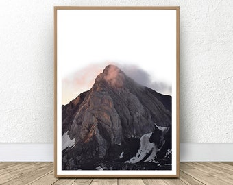 Mountain Wall Decor, Wilderness Nature Poster Large Art, Minimalist Scandinavian Art, Wall Art Printable Photography, Brown Nordic Mountain