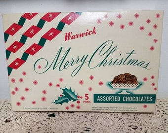 Vintage Warwick Merry Christmas Chocolates Box