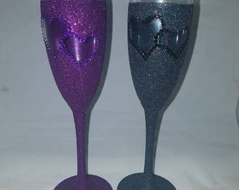 Glittered glasses, glitter glass, champagne glass set, wedding gifts, anniversary gifts, newly wed gift set, new couple, new home gifts