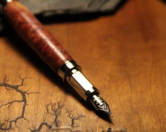 Wood Turned Fountain Pen - Wood Burl