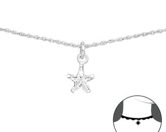 Silver Star Choker With Cubic Zirconia