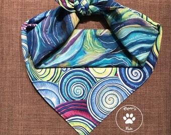 Oceanagraphy Reversible Dog Bandana, Abstract Bandana, Tie On Bandana, Snap On Bandana