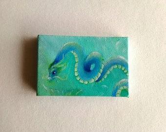 Dragon Painting Mini | Canvas Painting | Mini Art | Tiny Art | Original Art | Decor | Mini Painting |  Gift | Small Painting | Fantasy Art