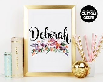 Personalized Names Monogram, Flowers Custom Nursery Letter, Wall Decor, Floral Printable, Flower Calligraphy Monogram, Custom Name Printable