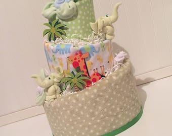 Gender Neutral Elephant Diaper Cake