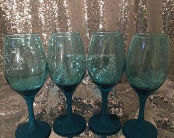 Glitter Stem Wine Glass