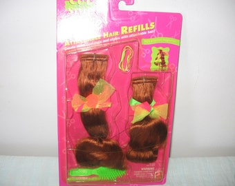 Barbie Cut And Style Hair Refills Red Hair - Barbie Redhead Hair Refills - 1994 Barbie Attachable Hair Refills For Red Head Doll