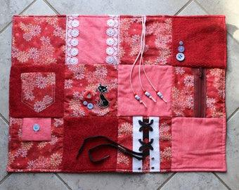 Fidget Blanket - Cat Lovers Floral - Dementia Alzheimer's - Fidget Quilt - Sensory Blanket - for adults - Activity Lap Pad LLBQ-003RP