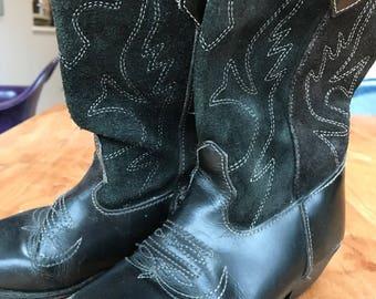 Black suede & leather stitched vintage children's cowboy boots kids EU size 29 / UK 11.5 / US 12.5