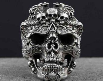 Sterling Silver Resizeable Skull Ring Biker Gothic Rocker Hippie Bohemian Hipster Metaller
