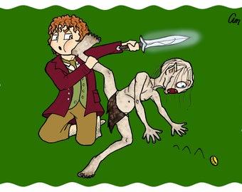 Golum and Bilbo Baggins