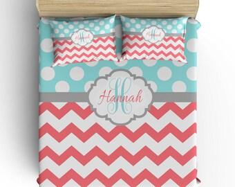 Chevron Polka Dot Comforter, Monogram Bedding Set, Chevron Polka Dots Pillowcase, Coral Aqua Gray, Duvet Cover, Toddler Twin Queen King