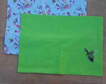 2 cotton fabric Tinkerbell and Blaze placemats - reversible - hand embroidered - Disney inspired - fairy - ready for dinner