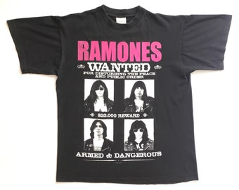 "Ramones ""Wanted"" vintage band shirt-L-Sex Pistols, The Clash, Dead Kennedys, Dead Boys, The Cramps, Misfits, CBGB, Punk, The Stooges"