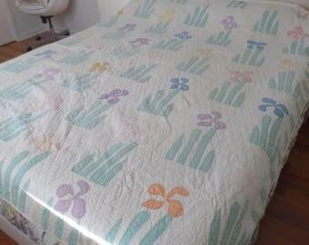 Vintage Handmade Pastel Iris Quilt