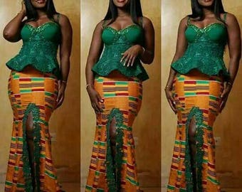 Kente and lace kaba and Slit/ kente and lace African clothing/ Kente and lace African prom dress
