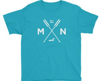 Adventure Minnesota T Shirt - MN, Est 1858, Loon, Oars Youth Short Sleeve T-Shirt