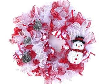 Snowman Pine Cone Christmas Wreath