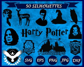 50 Harry Potter Silhouettes | Harry Potter Clipart | Harry Potter SVG | Harry Potter Vector | Hogwarts | Hermione | Gryffindor | Wizard