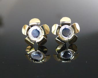 Handmade Silver Earring Studs Flower 2 tone, Silver 92.5, Gold, Silver, Rose Gold, Charm Earring, Beautiful and Cool Earring Studs, EST-001