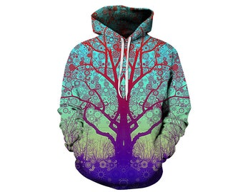 Tree Hoodie, Outdoor Hoodie, Tree Sweatshirt, Nature Hoodie, Art, Hoodie Art, Hoodie Pattern, Pattern Hoodie, Hoodie, 3d Hoodie - Style 5