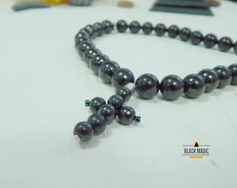 Shungite Christian Rosary 10 mm (0,39 in) and 6 mm (0,27 in) Beads round Karelian shungite emf protection healing praying beads