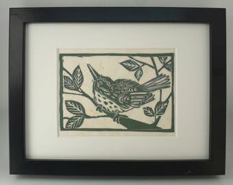 Bird Art Print Linocut Moss Green on Japanese paper A5 print