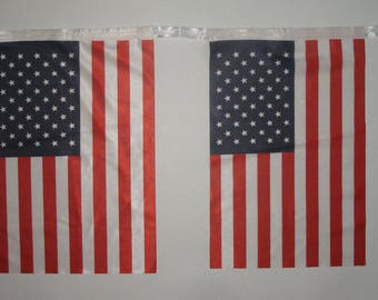 "Custom Made American Flag Bunting (28 US flags, 33ft) - Size 10""x15"" - Delivery in 4 days"