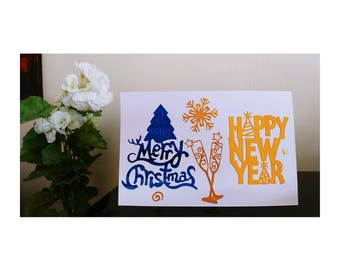Card Merry Christmas and Happy New Year